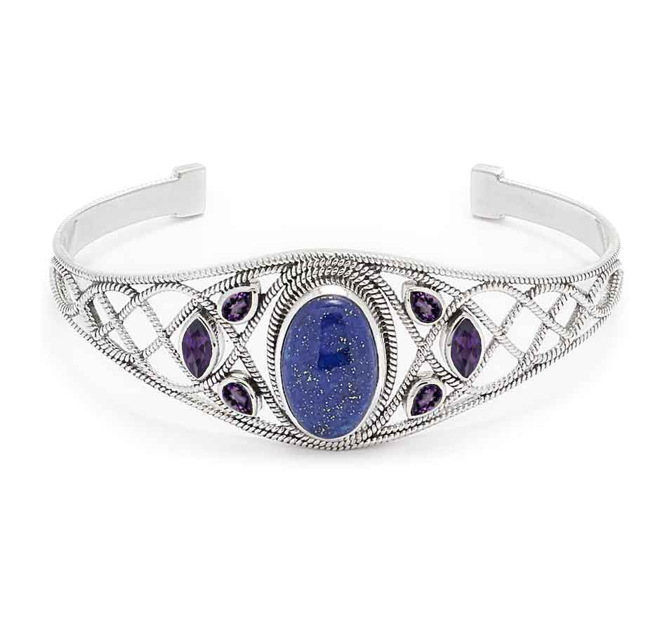 Lapis and Iolite Gemstone Cuff Bracelet