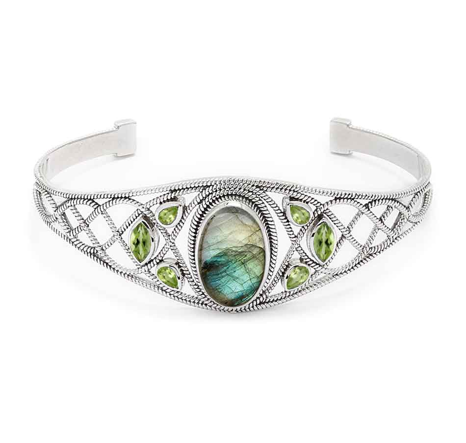 Labradorite and Peridot Gemstone Cuff Bracelet