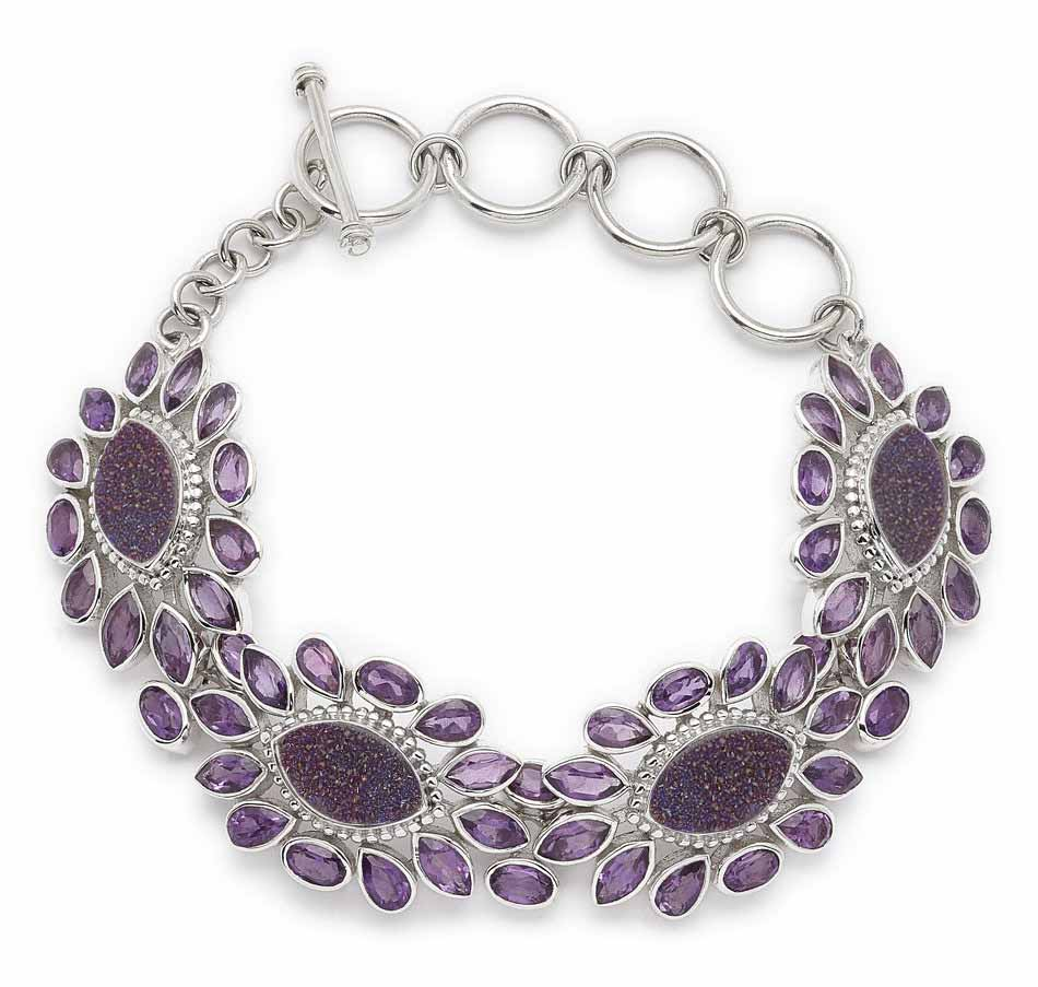 Purple Drusy and Amethyst Flower Link Bracelet