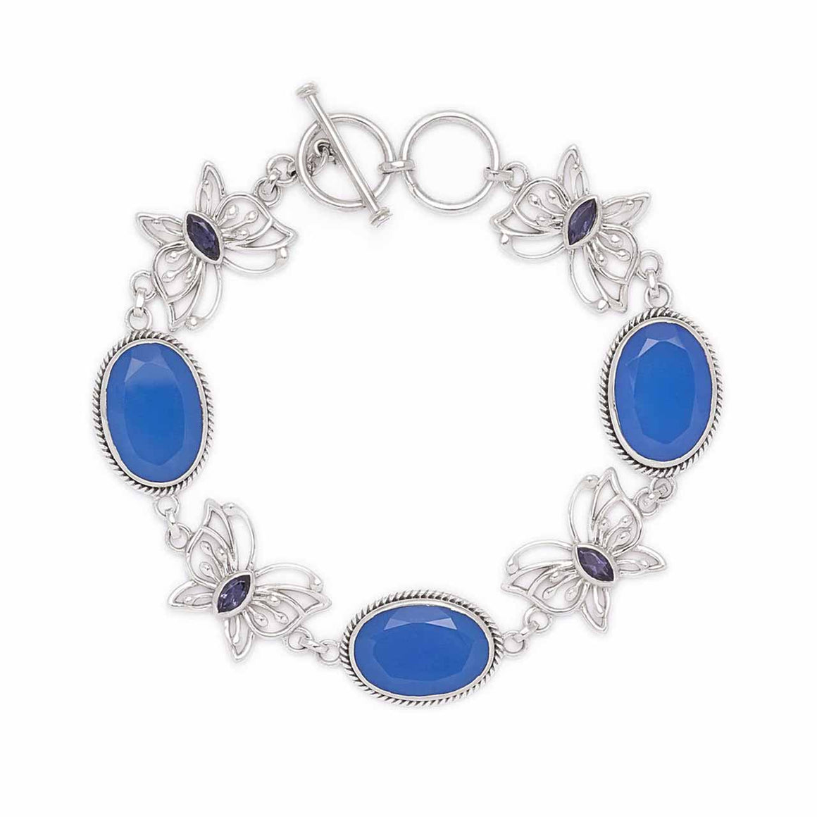 Blue Chalcedony and Iolite Butterfly Line Bracelet