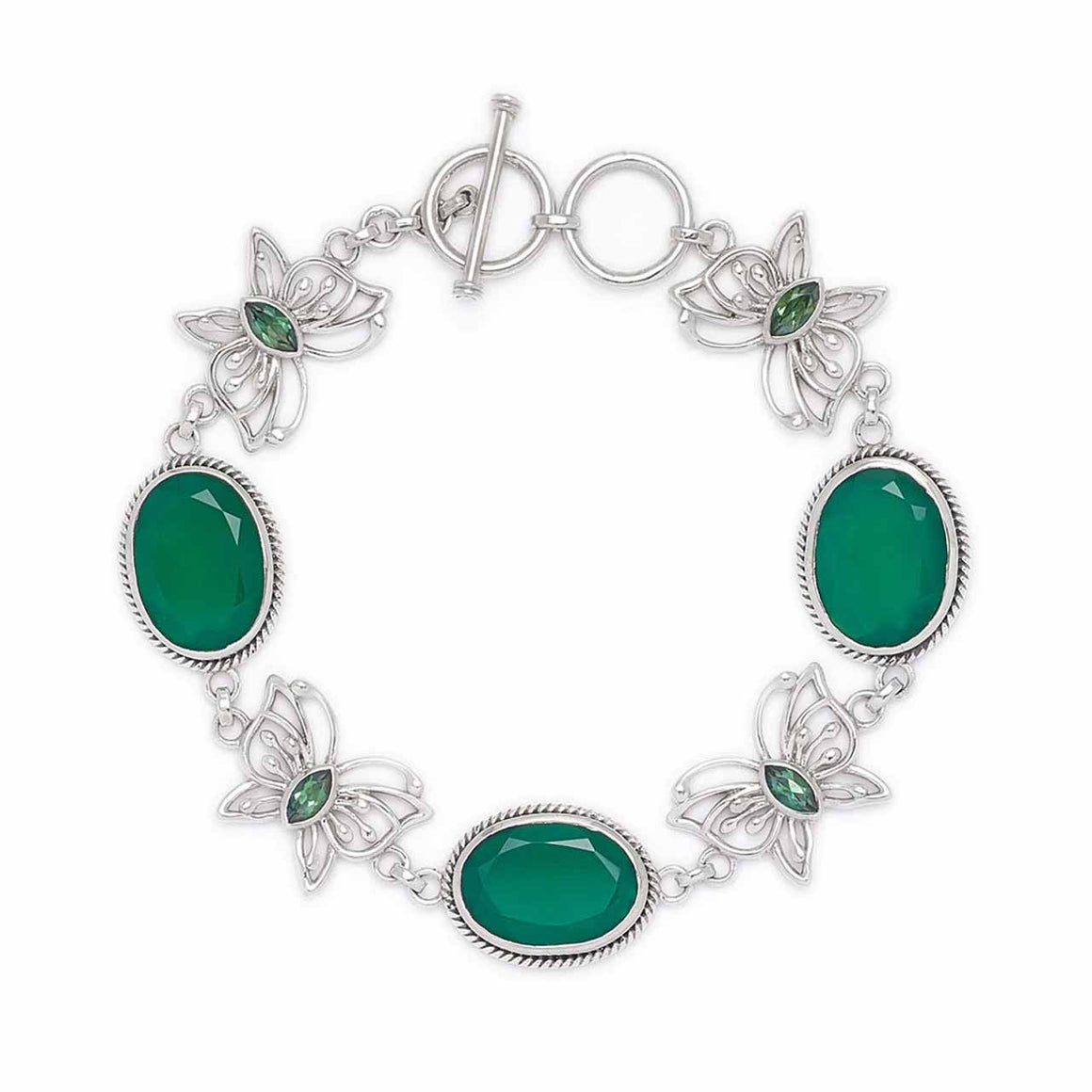 Emerald Green Chalcedony and Green Quartz Butterfly Line Bracelet