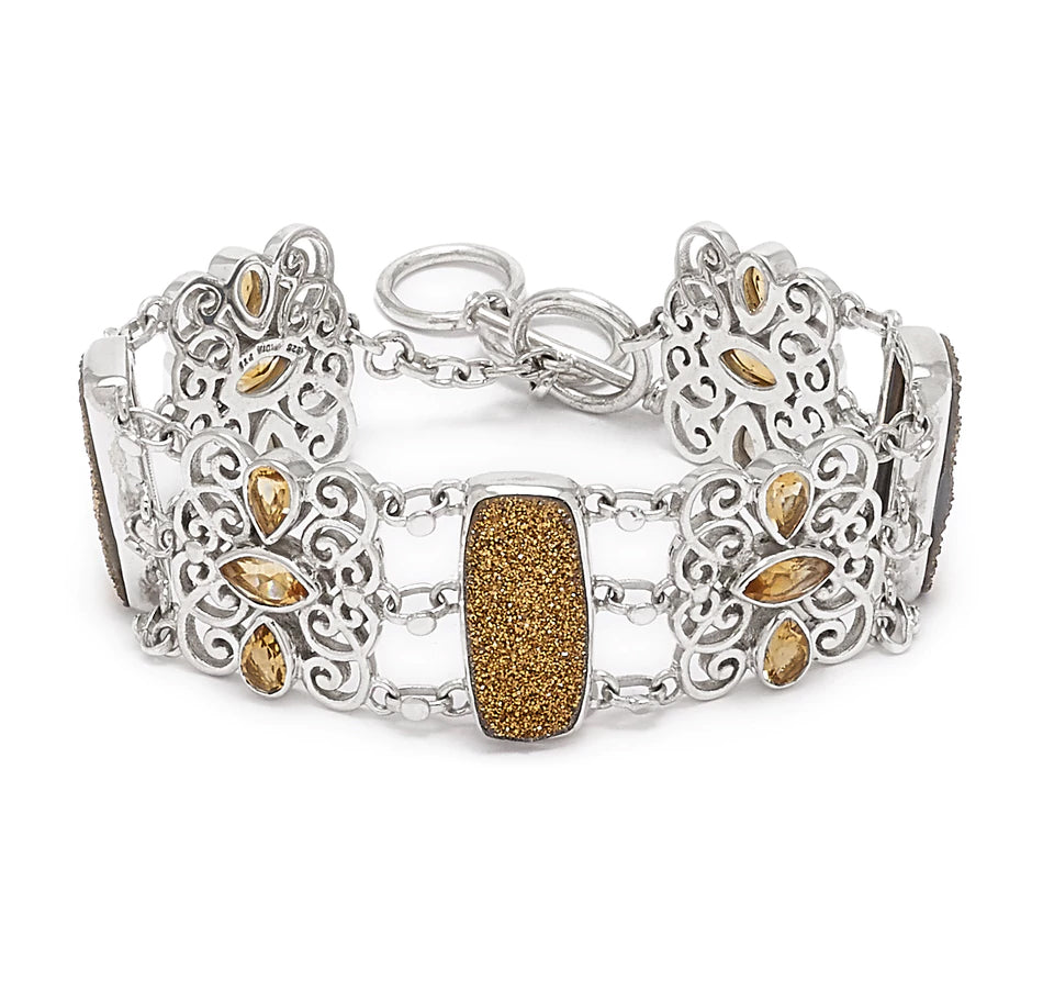 Gold Tone Drusy and Citrine Gemstone Link Bracelet