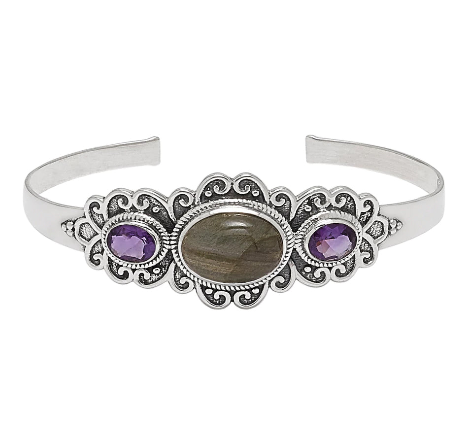 Purple Labradorite and Amethyst Gemstone Cuff Bracelet