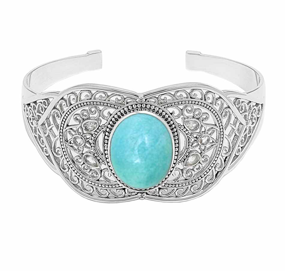 Amazonite and Faceted Rainbow Moonstone Cuff Bracelet