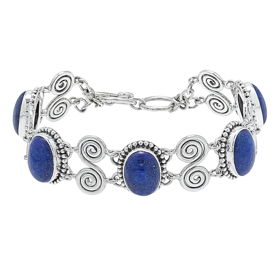 Lapis Oval and Scrollwork Link Bracelet