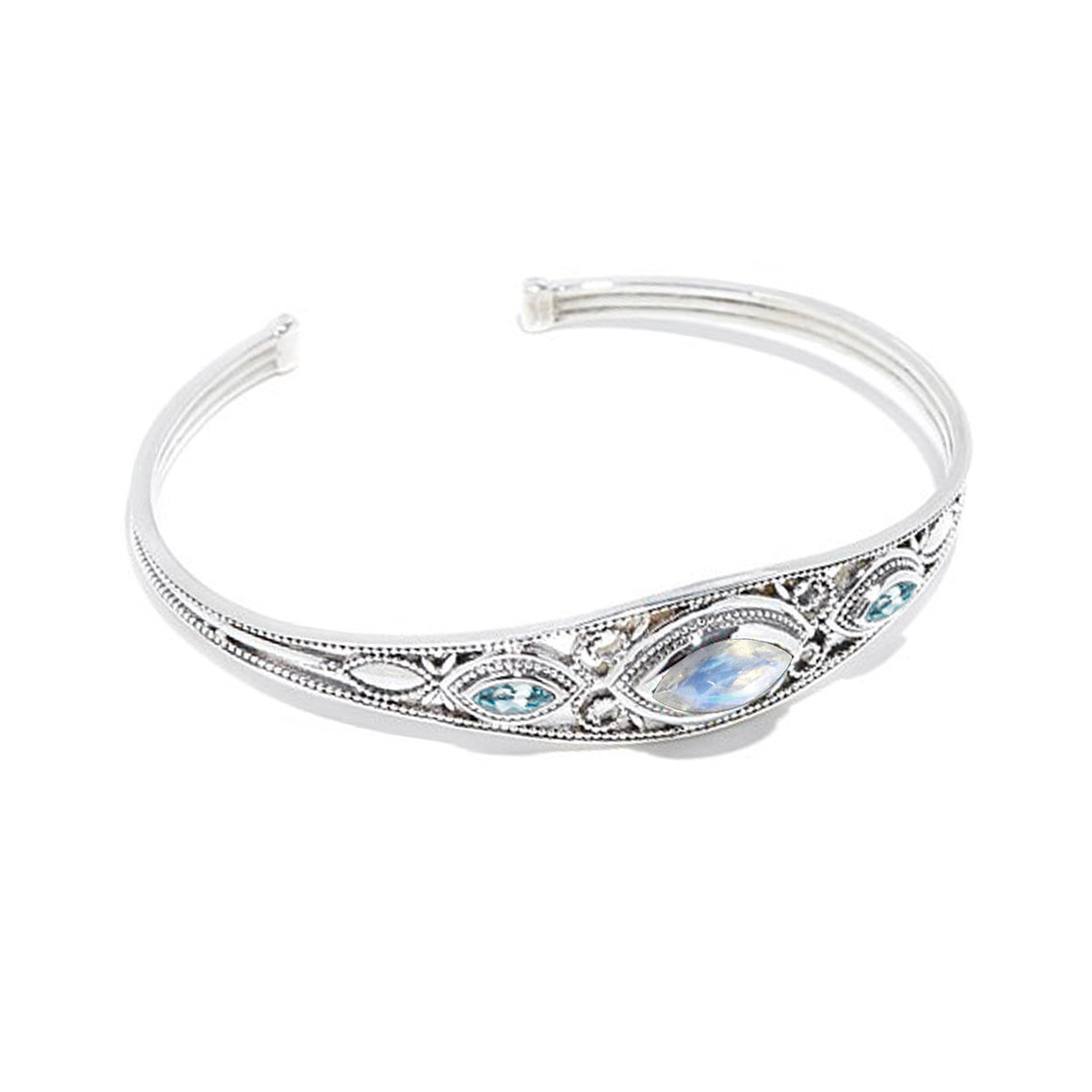 Faceted Rainbow Moonstone and Blue Topaz Cuff Bracelet