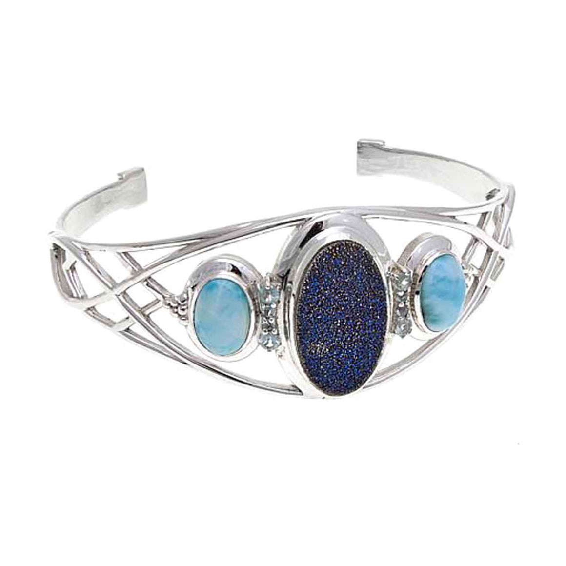 Blue Drusy, Larimar and Blue Topaz Cuff Bracelet