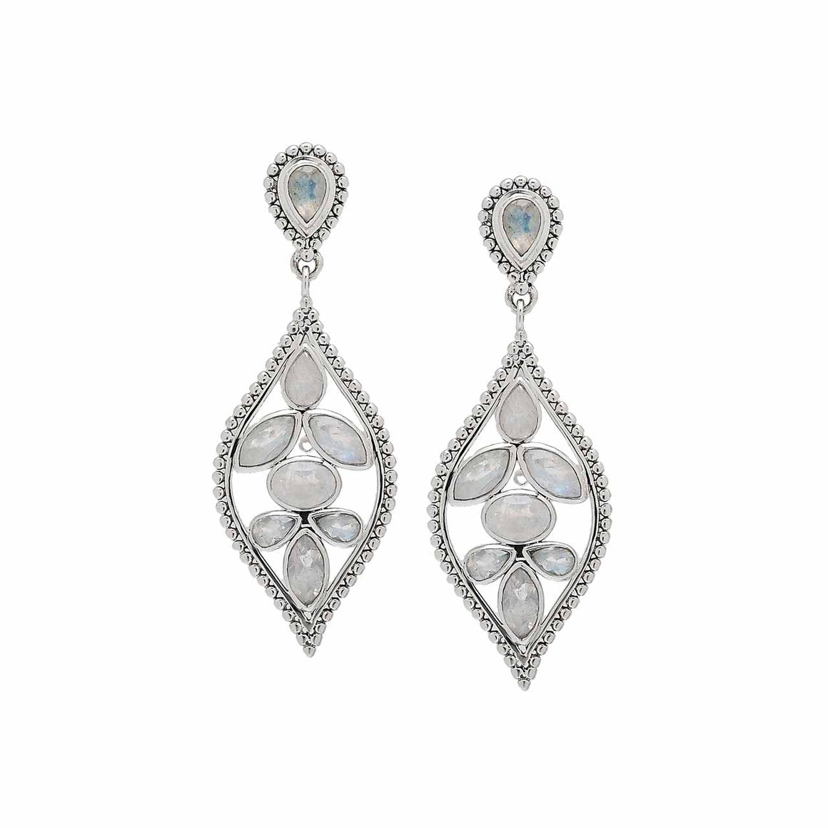Rainbow Moonstone Marquise Drop Earring