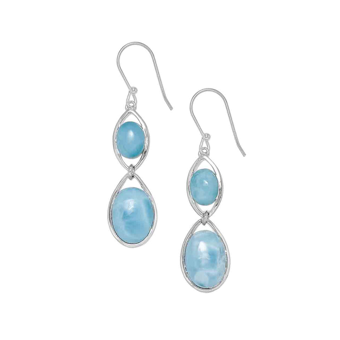 Sterling Silver Double Larimar Earrings