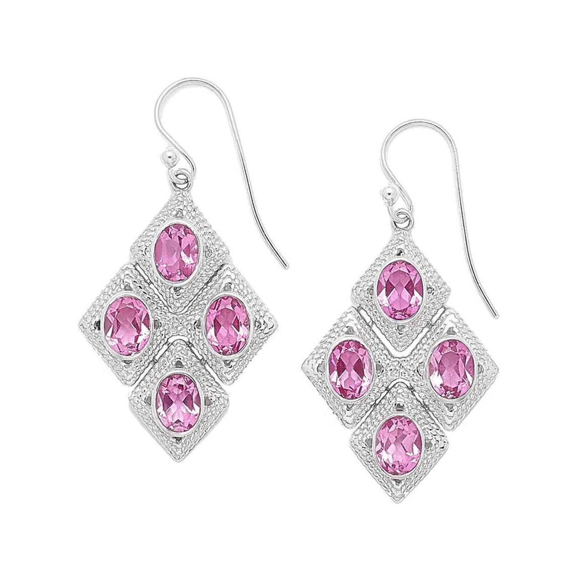 Geometric Pink Quartz Earrings