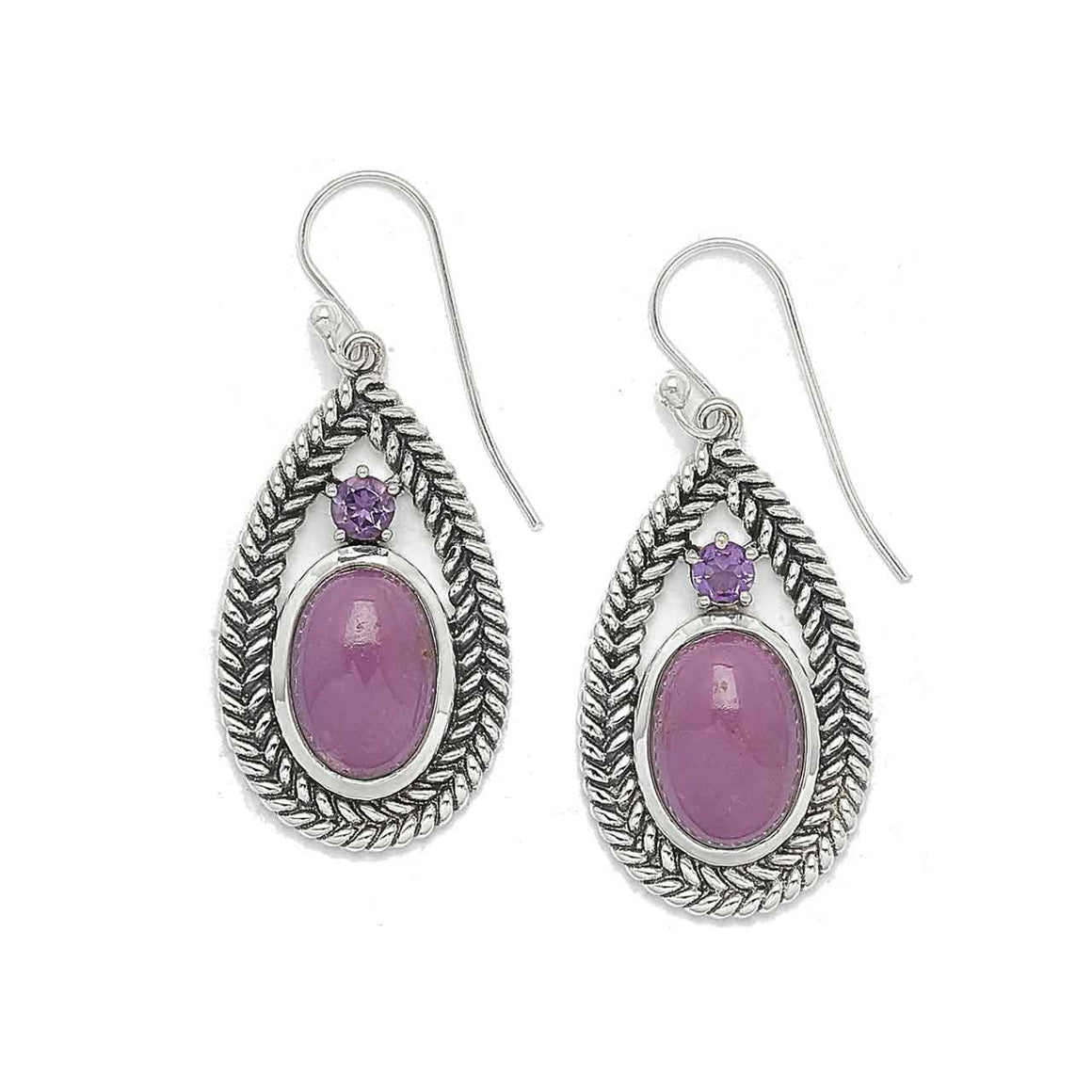 Phosphosiderite and Amethyst Earrings