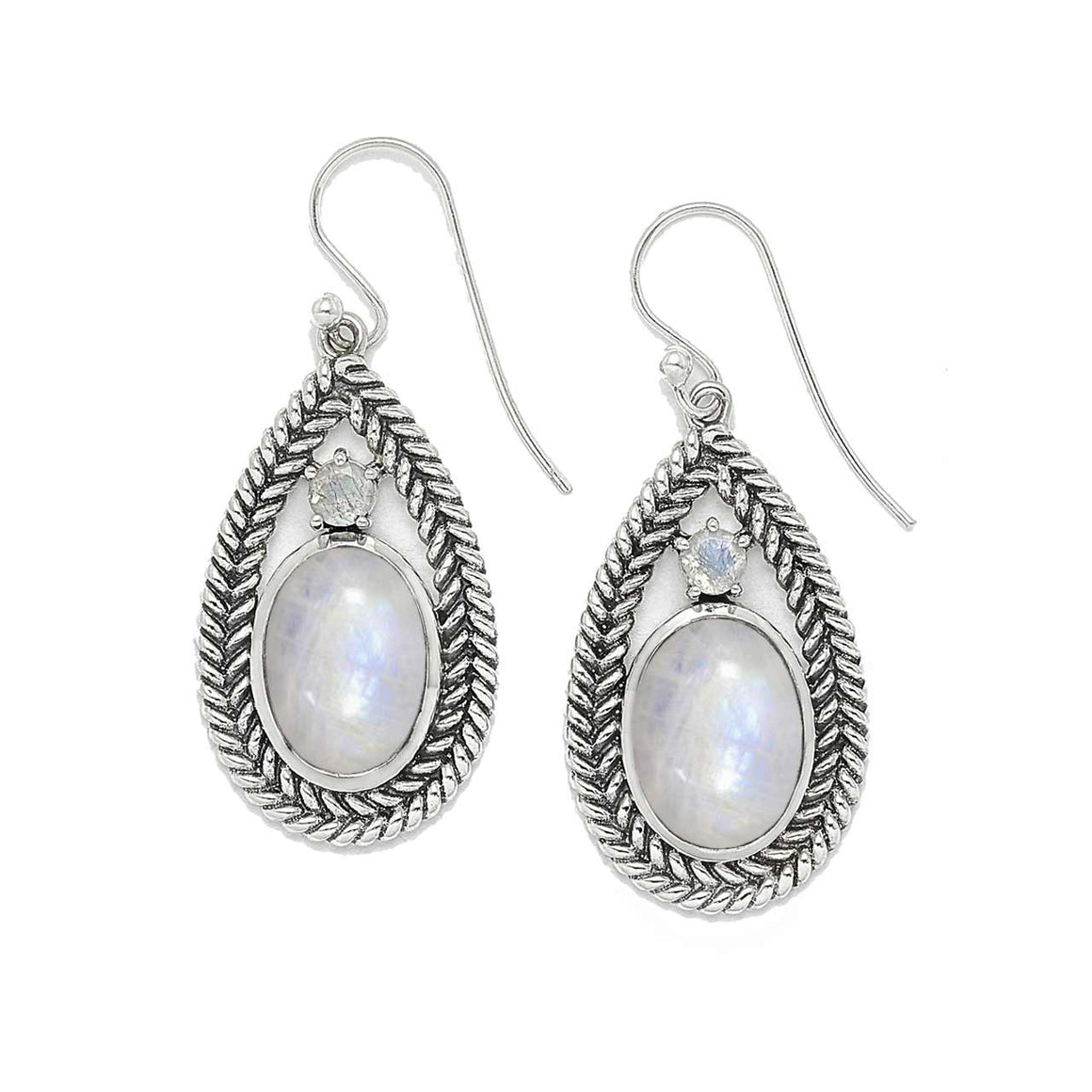 Rainbow Moonstone and Braided Silver Earrings