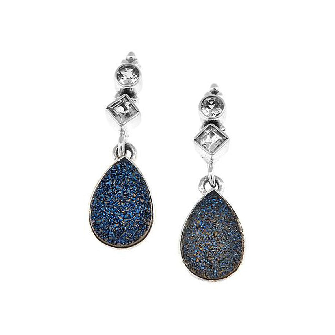 Blue Drusy and Blue Topaz Earrings