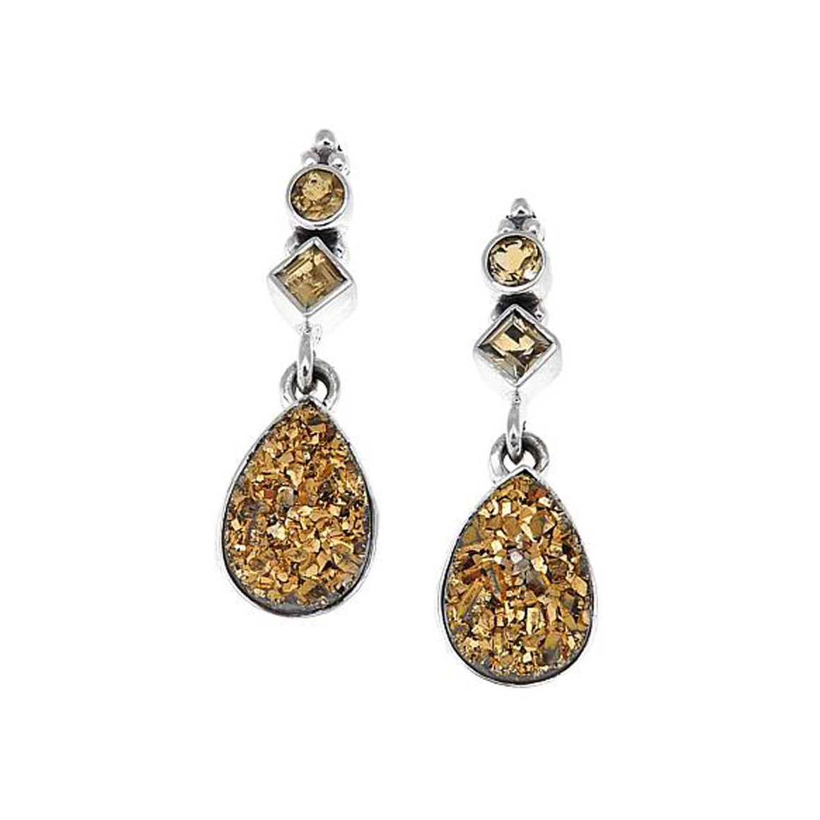 Gold Drusy with Citrine Earrings