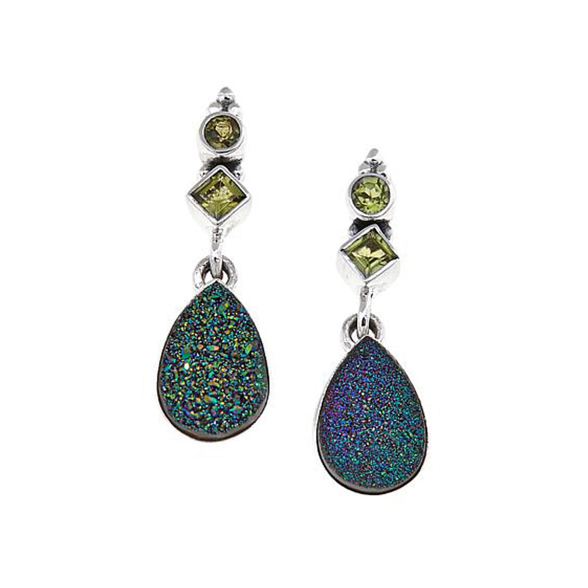 Green Drusy with Peridot Earrings