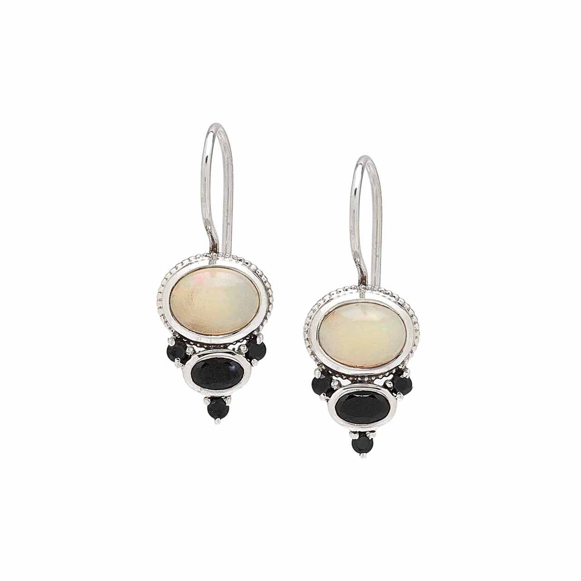 Ethiopian Opal and Black Spinel Earrings
