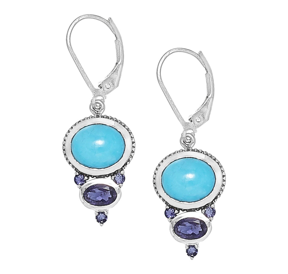 Sleeping Beauty Turquoise and Iolite Earrings