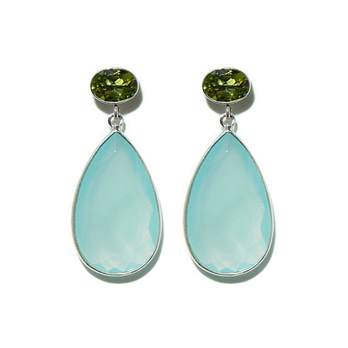 Bold Aqua Chalcedony & Peridot Drop Earrings
