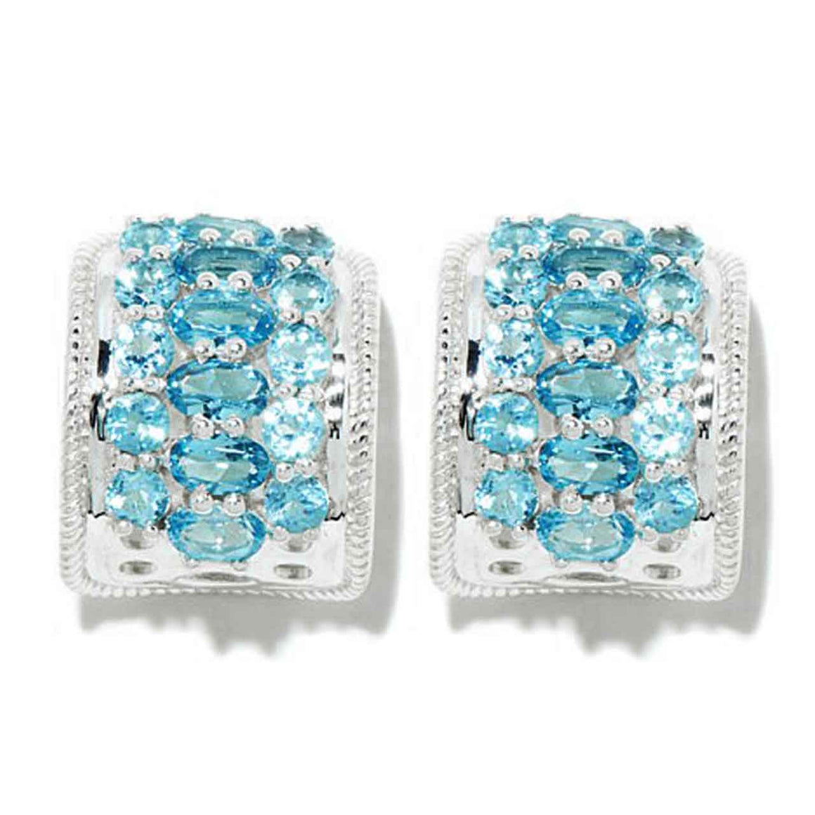 Multi Swiss Blue Topaz Hoop Earrings
