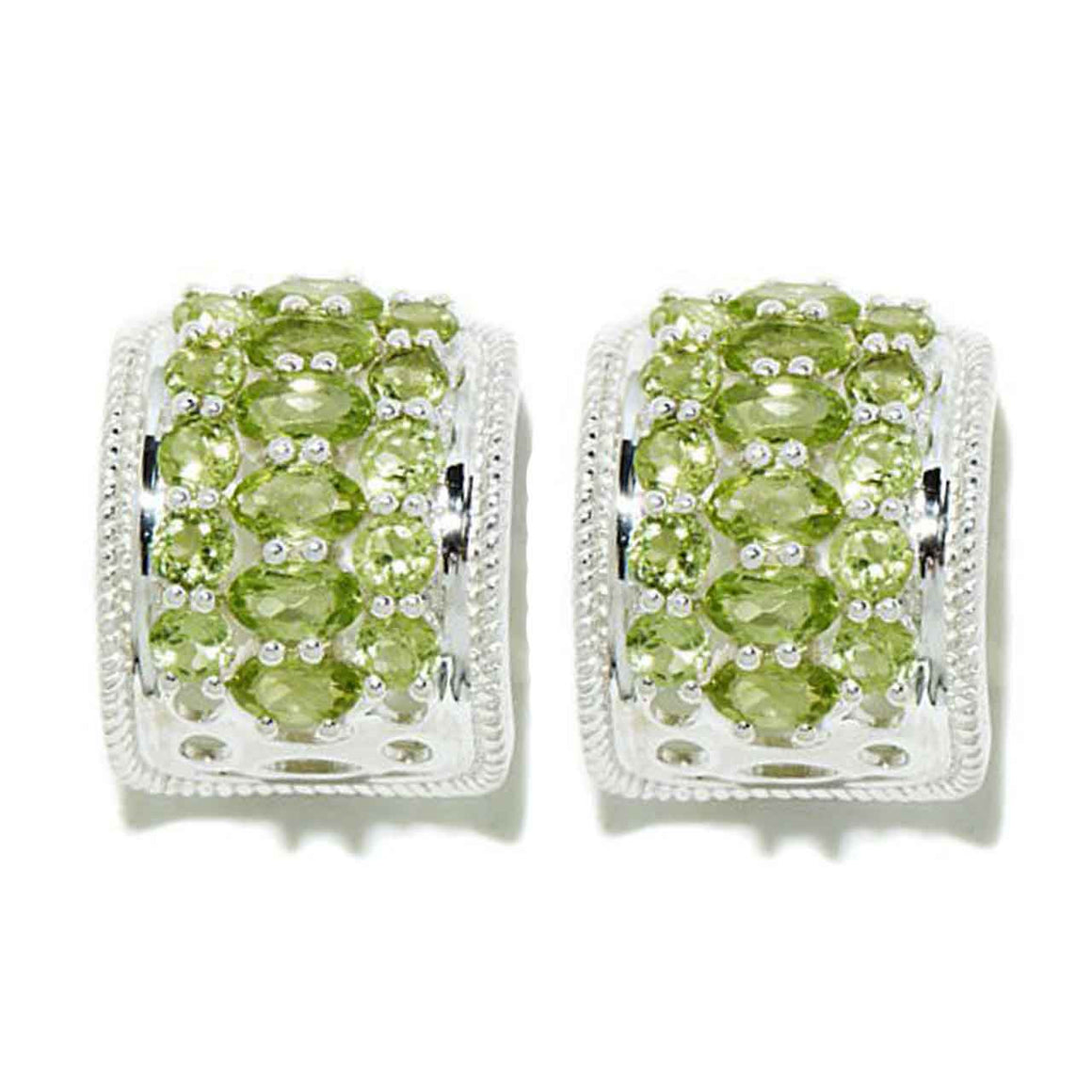Multi Peridot Hoop Earrings