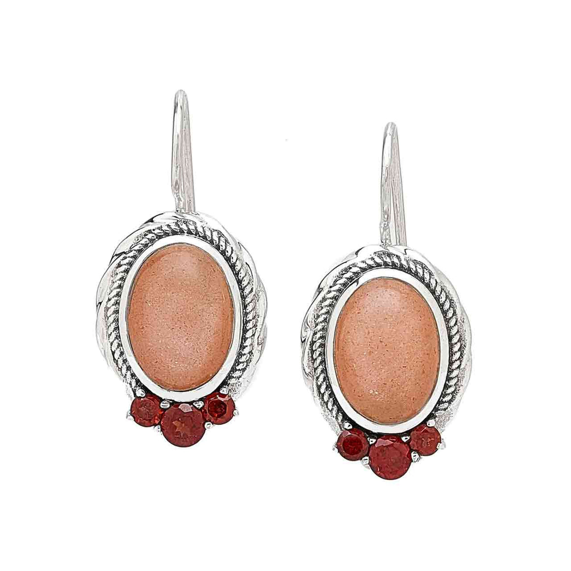 Peach Moonstone and Garnet Earrings