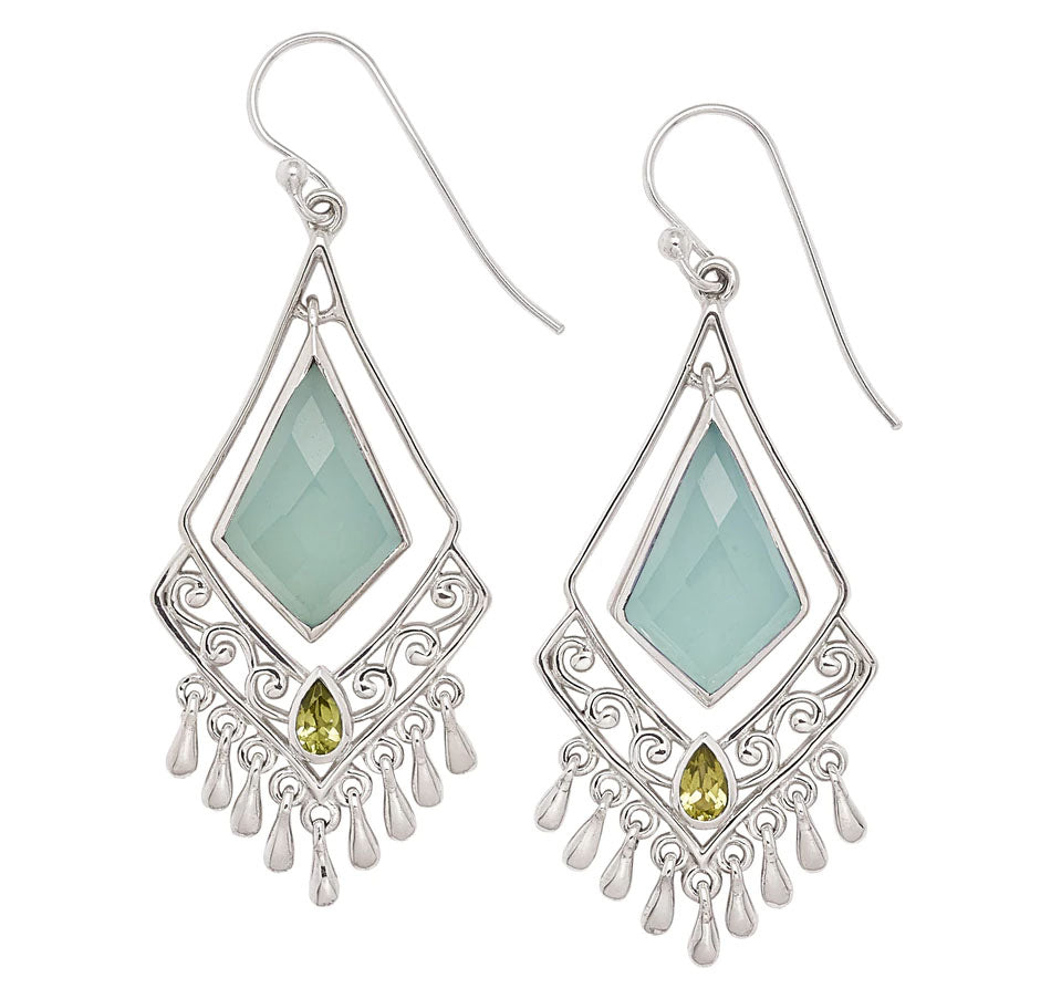 Aqua Chalcedony and Peridot Earrings