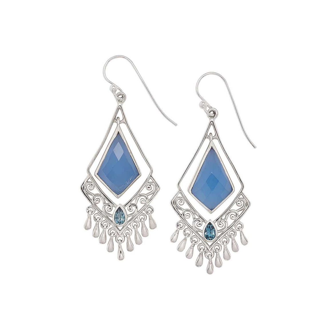 Blue Chalcedony and Blue Topaz Fringe Drop Earring