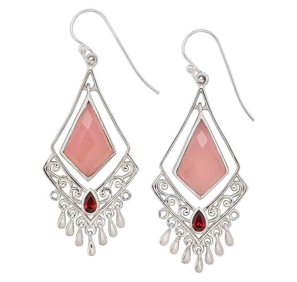 Pink Chalcedony and Garnet Earrings