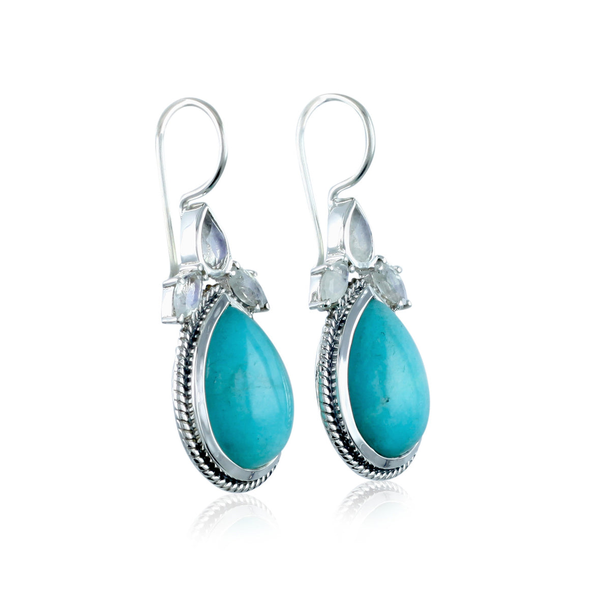 Amazonite and Rainbow Moonstone Earrings
