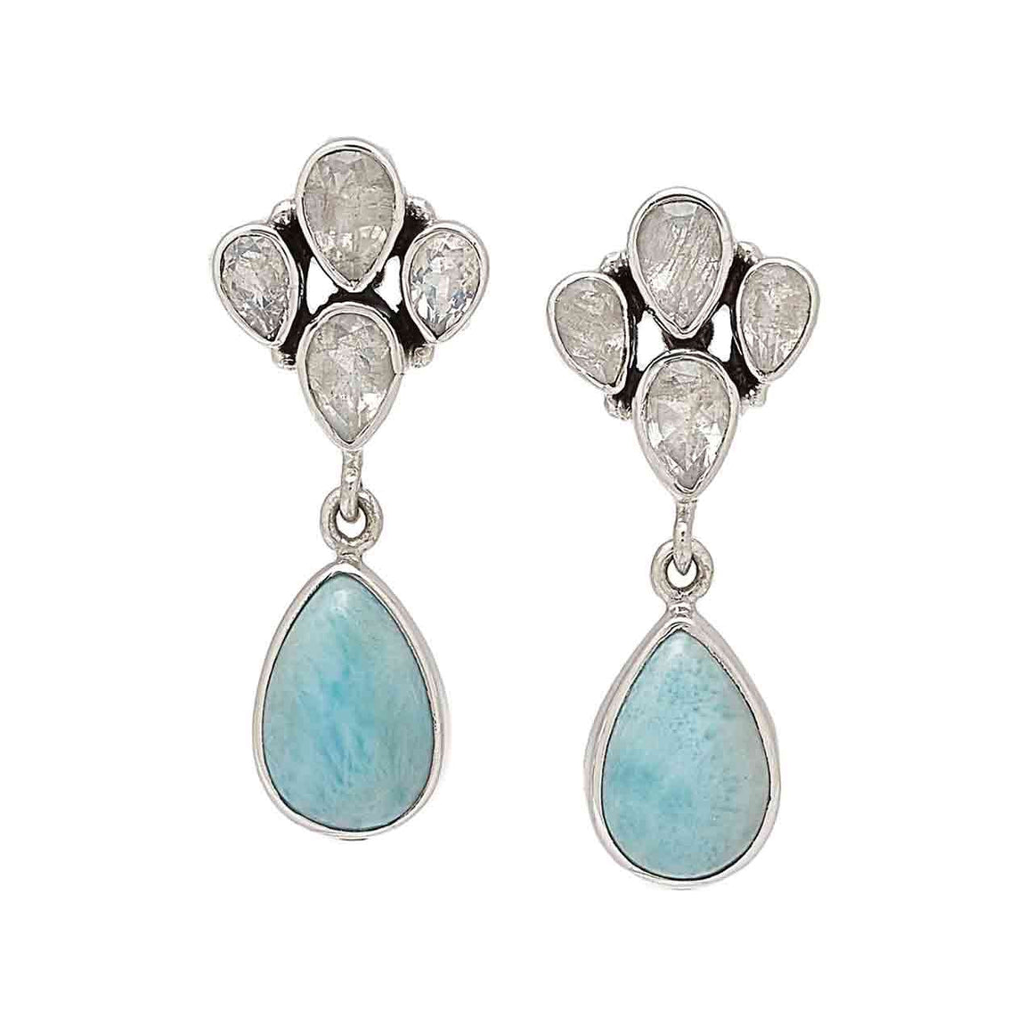 Larimar and Rainbow Moonstone Earrings