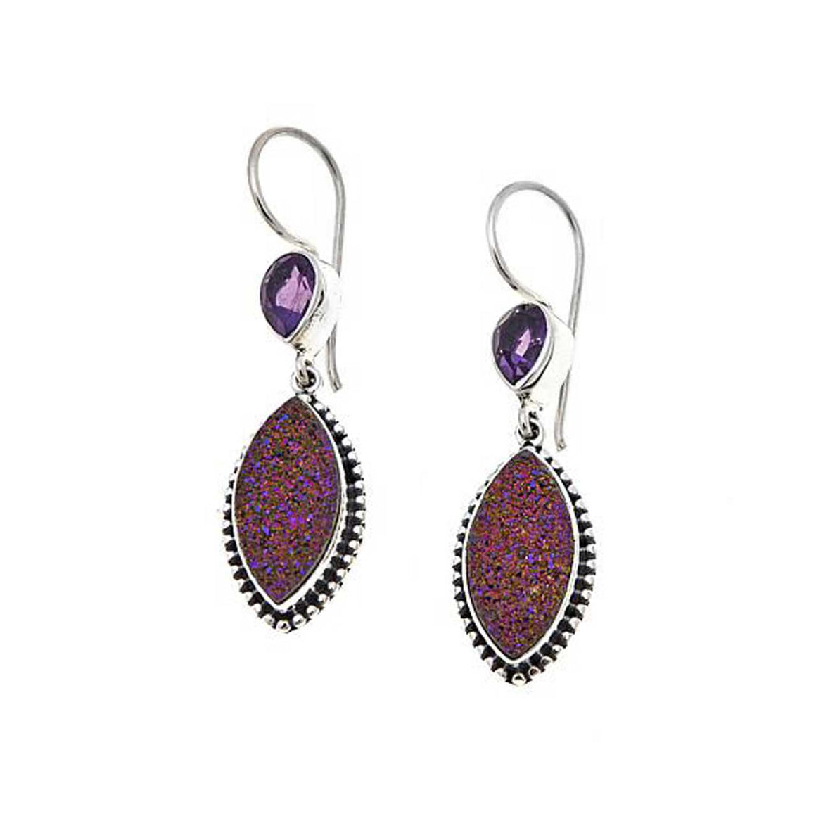 Purple Drusy and Amethyst Earrings