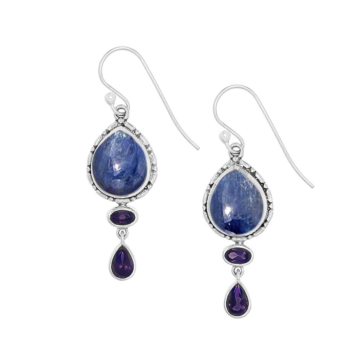 Kyanite and Iolite Drop Earrings