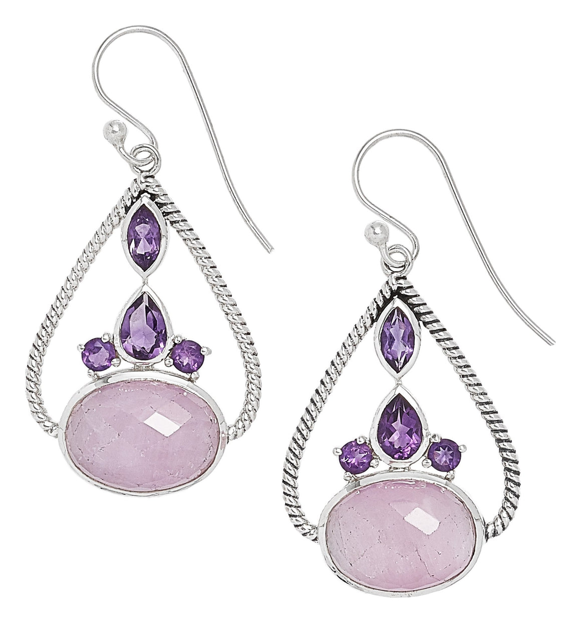 Kunzite and Amethyst Earrings