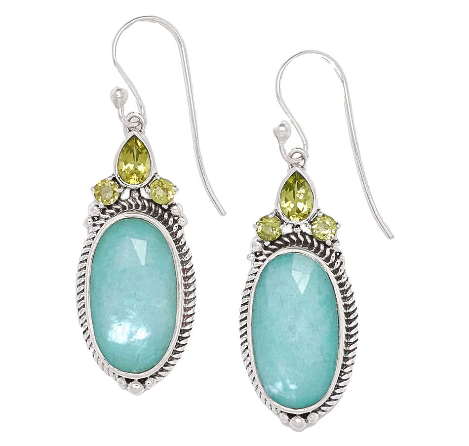 Amazonite Triplet and Peridot Earrings