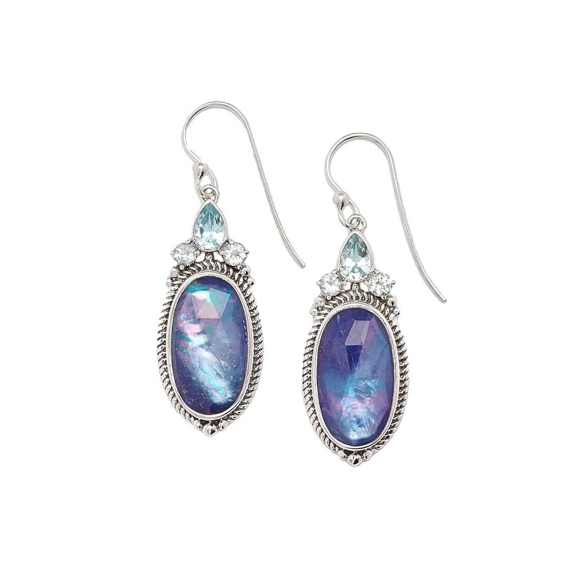 Lapis Quartz Triplet and Blue Topaz Drop Earring