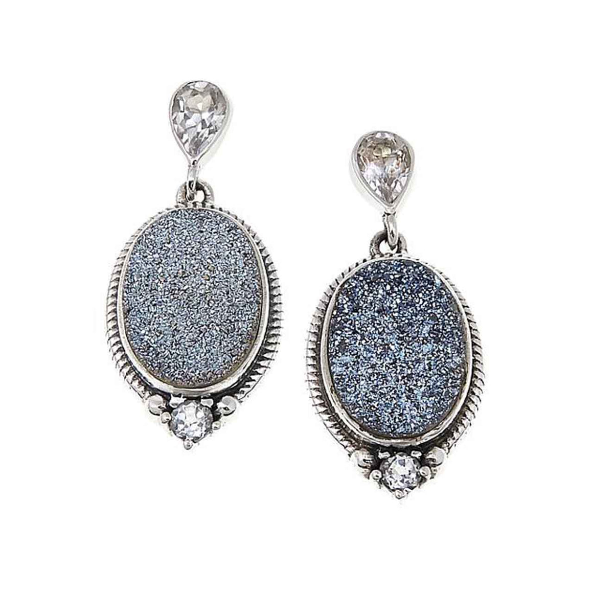 Carribean Blue Drusy and White Topaz Earrings