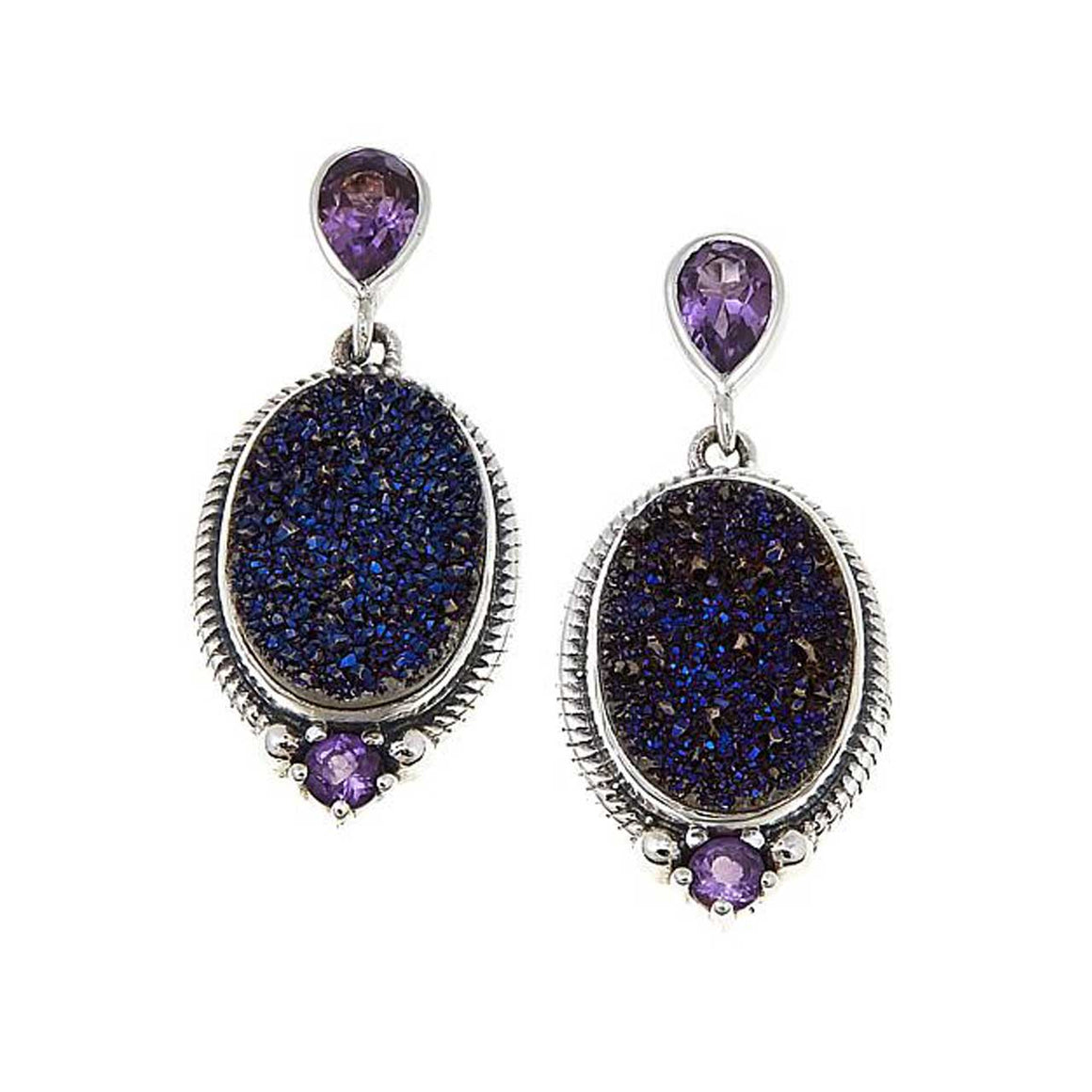 Purple Drusy with Amethyst Earrings