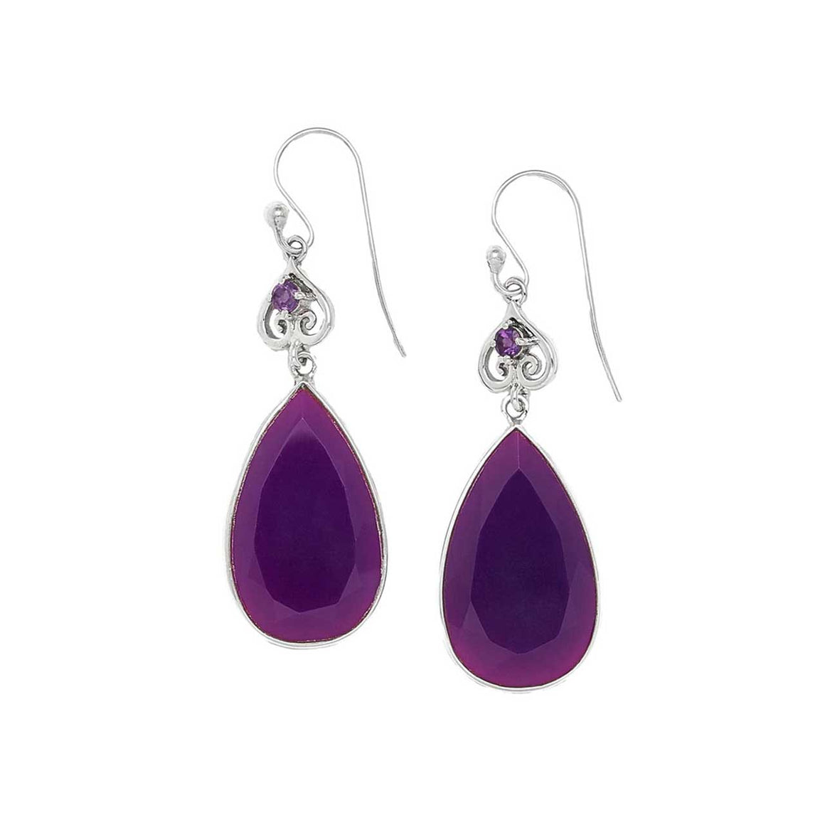 Mauve Chalcedony and Amethyst Drop Earrings