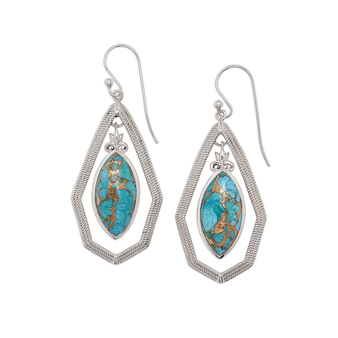 Mohave Turquoise Marquise Drop Earrings