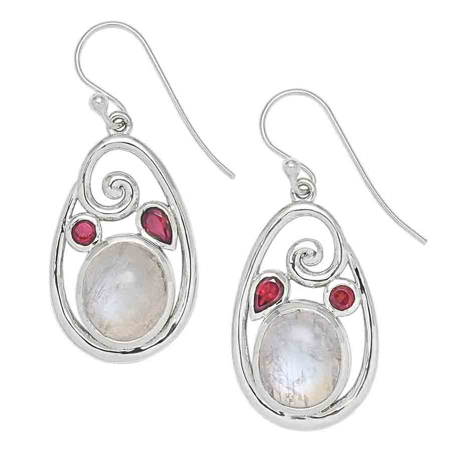 Rainbow Moonstone and Rhodolite Garnet Earrings