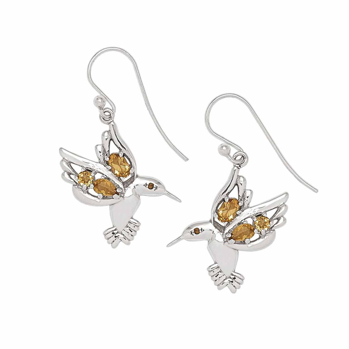 Hummingbird Citrine Gemstone Earrings
