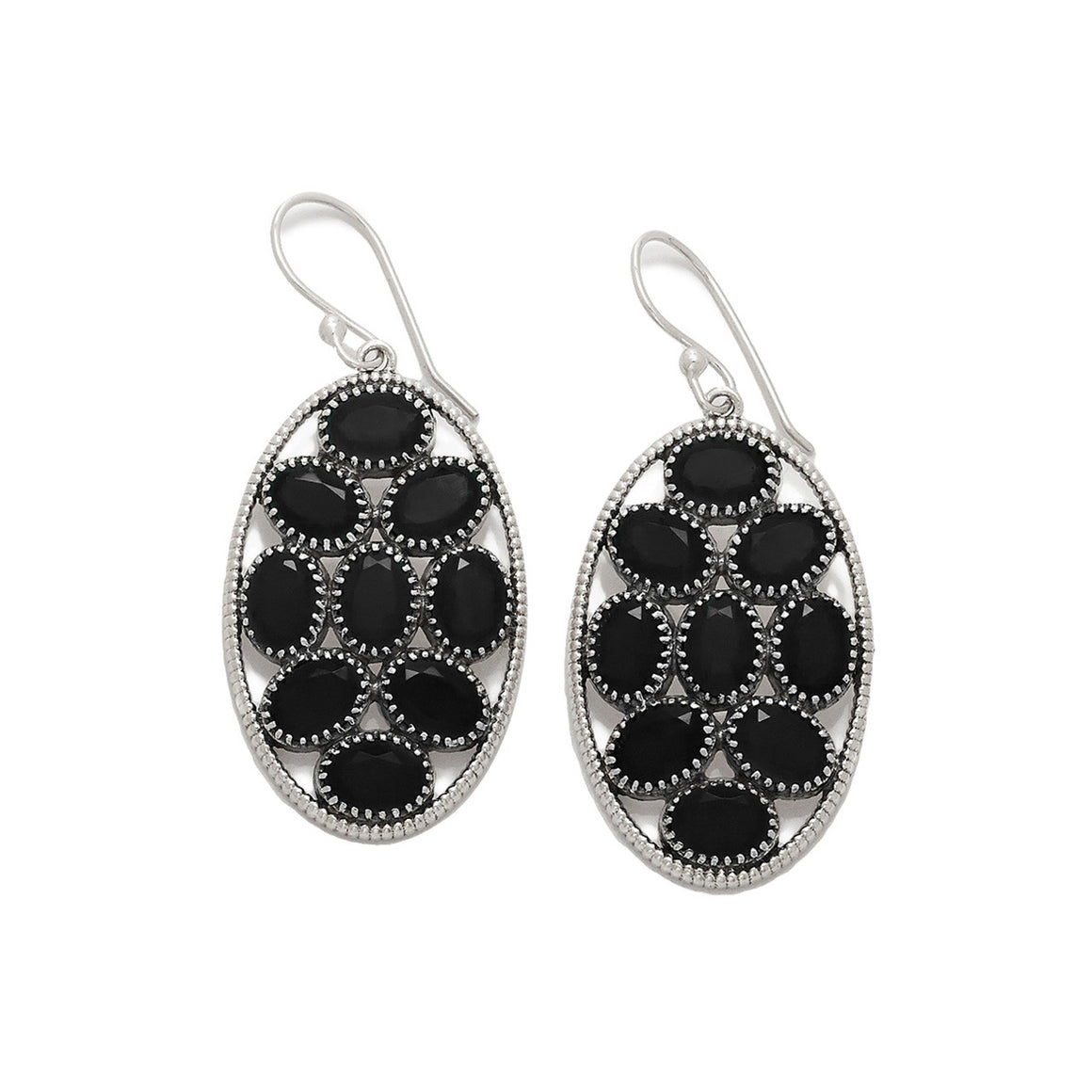 Black Spinel Multi Stone Earrings