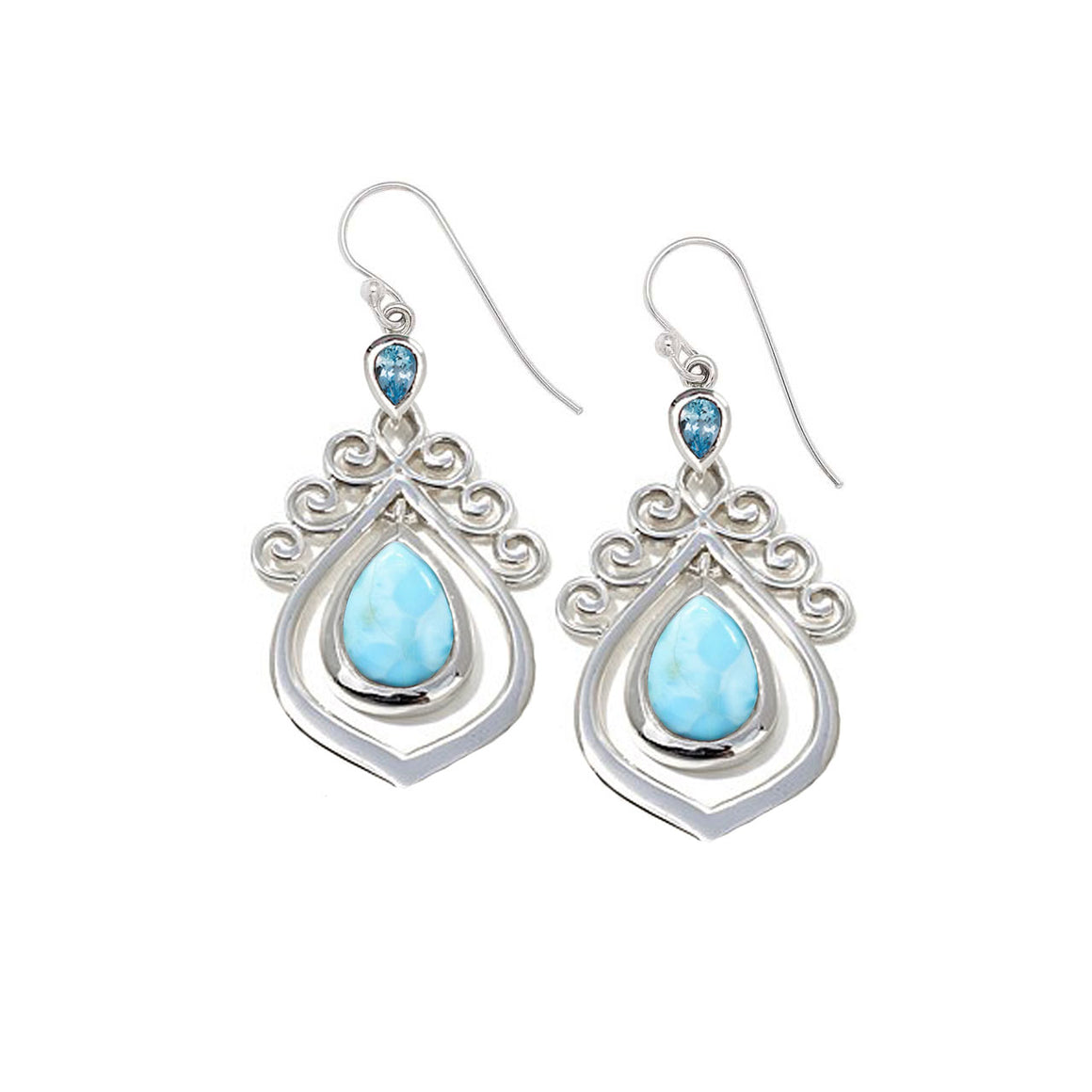 Larimar & Blue Topaz Earrings