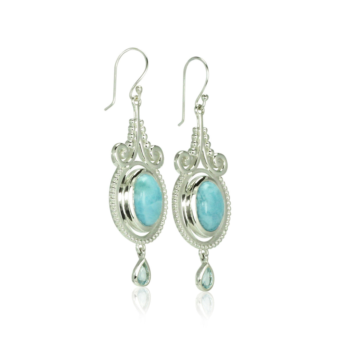 Larimar and Blue Topaz Earrings