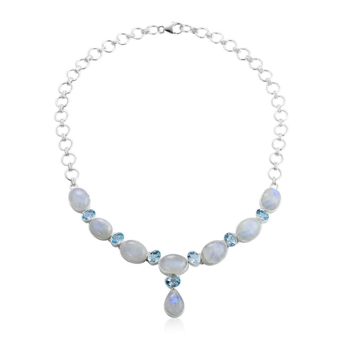 Rainbow Moonstone and Blue Topaz Multi Gemstone Necklace - One of a Kind