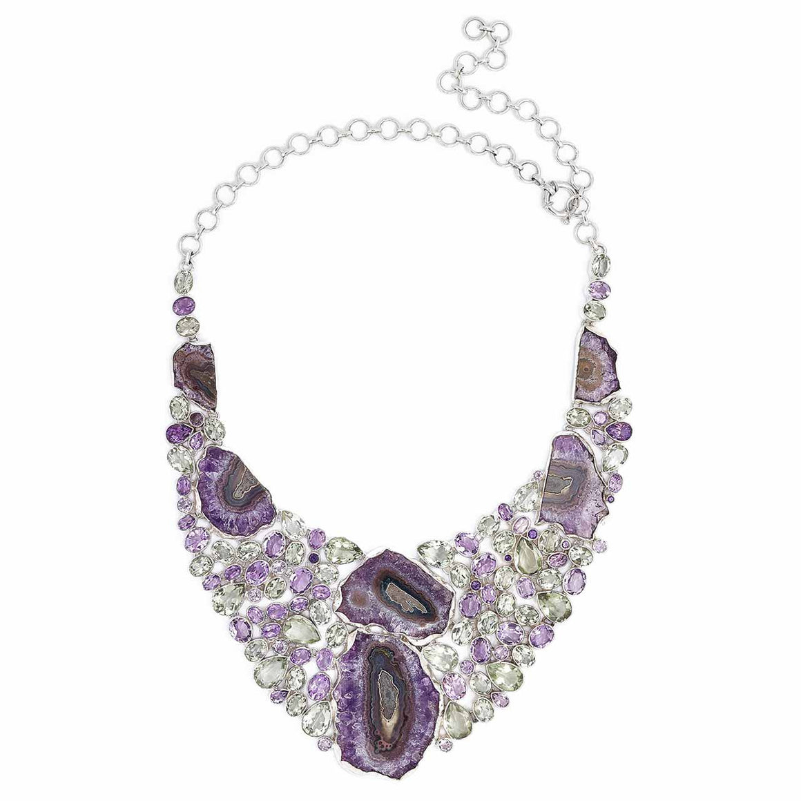 Amethyst Geode, Amethyst and Green Amethyst Gemstone Necklace