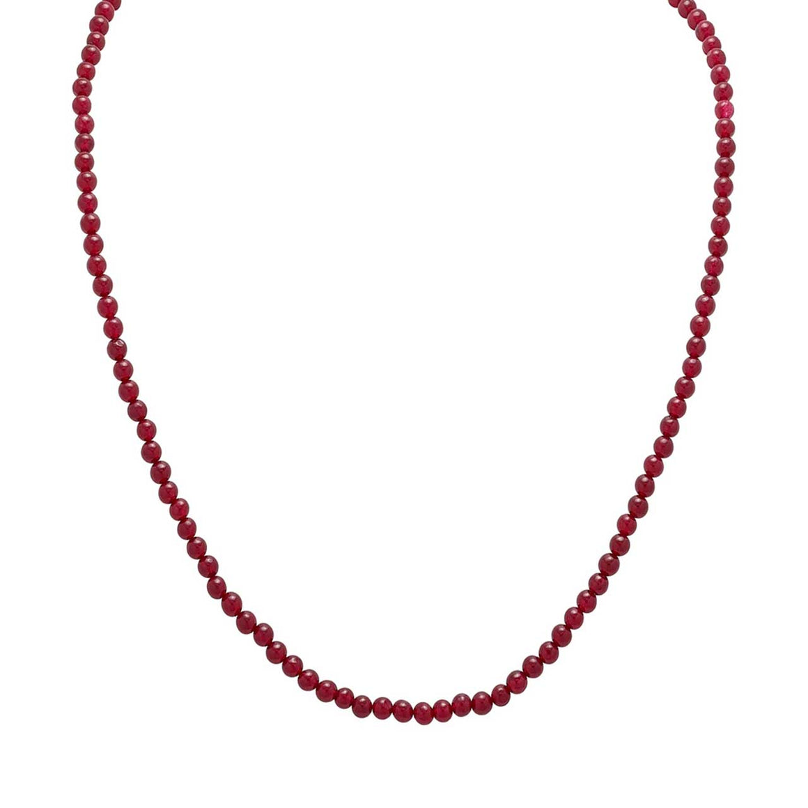"Red Chalcedony 20"" Beaded Necklace"
