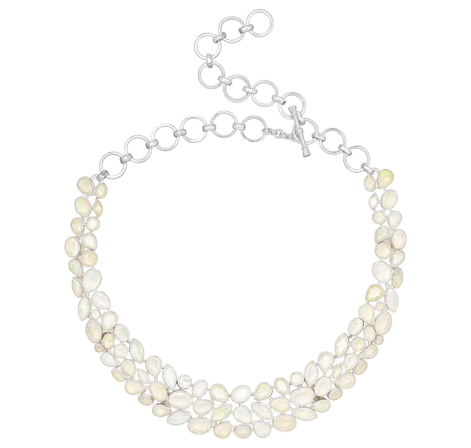 Sterling Silver Faceted Opal Necklace