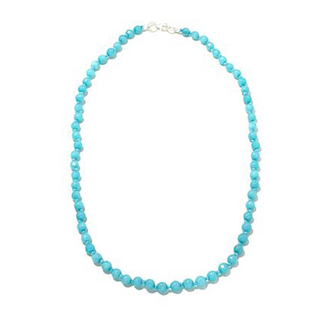 Turquoise Colored Quartz Gemstone Beaded Necklace 20""