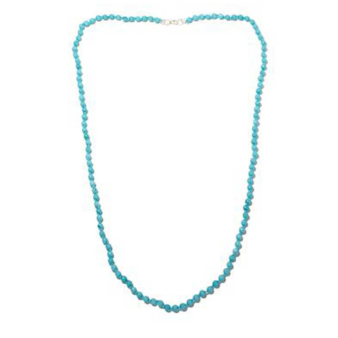 Turquoise Colored Quartz Gemstone Beaded Necklace 36""